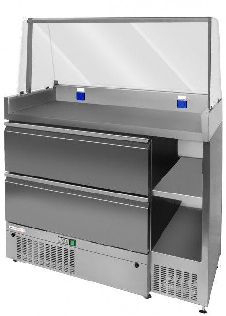 313 717 руб.Арт.: JMC-6  Охлаждаемый фаст-фуд модуль с рабочей поверхностью размерами 1130x645, гнутым витринным стеклом, двумя выдвижными ящиками, нижний из которых, охлаждаемый  c диапазоном температур -2˚C до +10˚C и двумя нейтральными нишами для хранения инвентаря и продуктов. Модуль спроектирован для приготовления и продажи хот-догов, вафель, блинов, сэндвичей и пр. на АЗС, фуд-кортах, cупермаркетах, точках фаст-фуда.