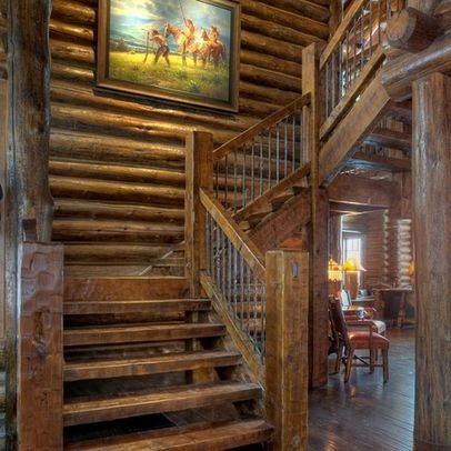 Rustic Stairs Design, Pictures, Remodel, Decor And Ideas Heavy Wood With  Metal Rods, A Little Dark?