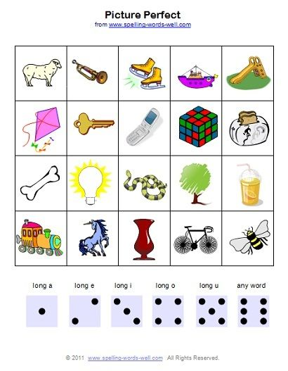 Free Phonics Games - Picture Perfect game board