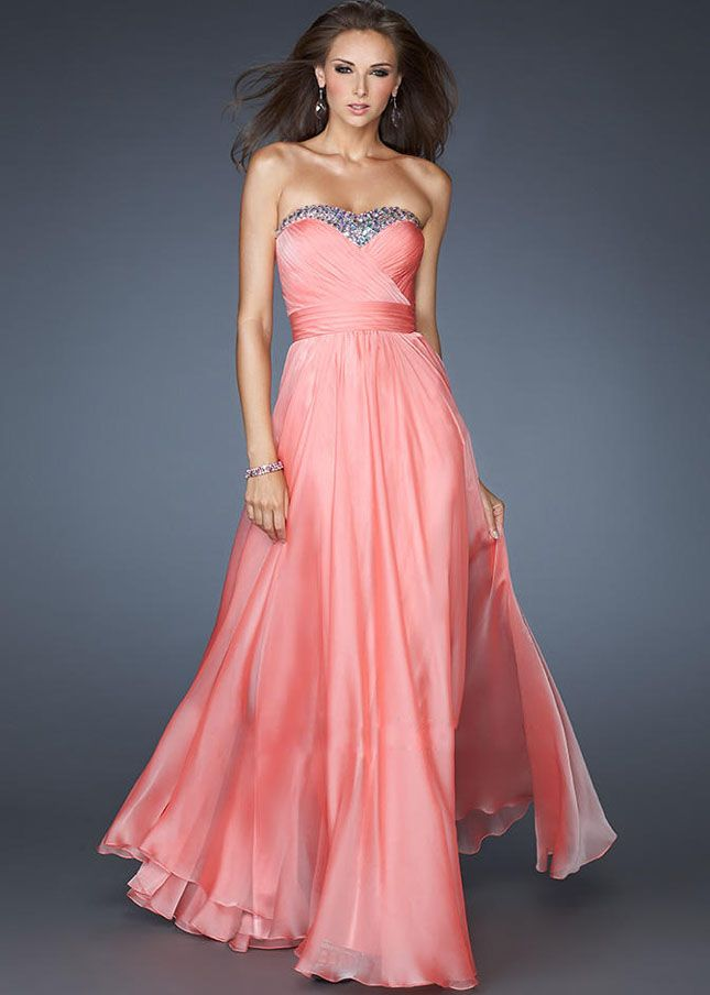 Chiffon A-line Beaded Stones Coral Evening Gown Cheap