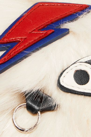 Stella McCartney - Ziggy Stardust Appliquéd Faux Fur Keychain - White - one size