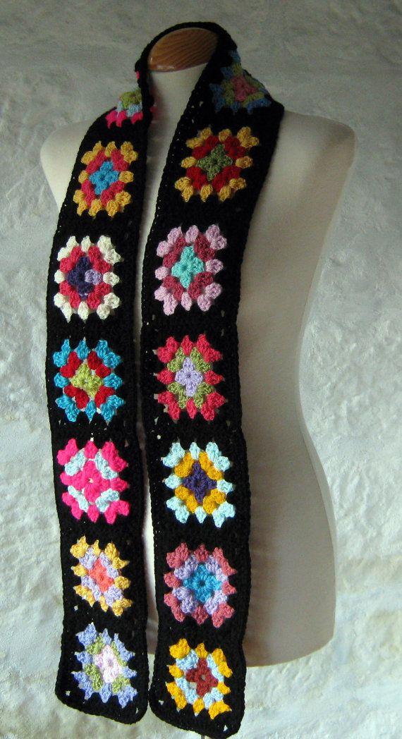 The Crochet Granny Square Scarf.. I wanna make me one for the winter.