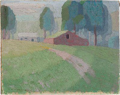 WAKELIN, Roland New Zealand 1887 – Australia Australia from 1912; England, France 1922-24 Barn near Tuggerah 1919 Painting oil on composition board