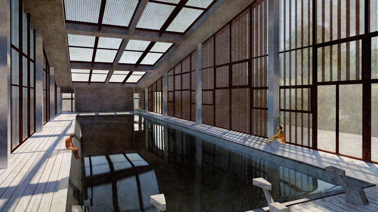 progetto di tesi: piscina coperta - architettura - interior design - digital view