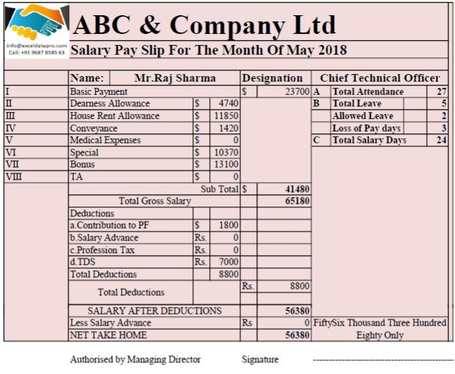 Download Salary Sheet With Attendance Register In Single