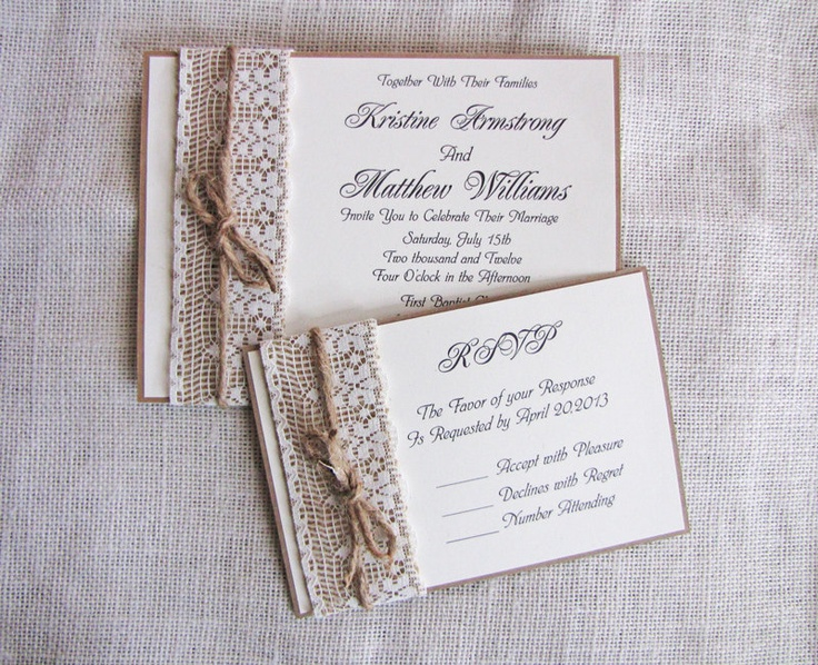 Handmade Rustic Lace and Burlap Wedding Invitation
