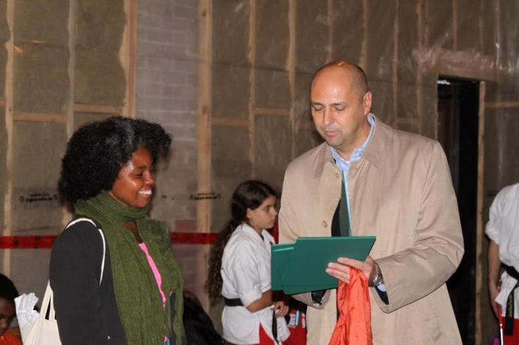 MP for Beaches-East York Matthew Kellway presents Award of Appreciation to visual artists Sandra Brewster