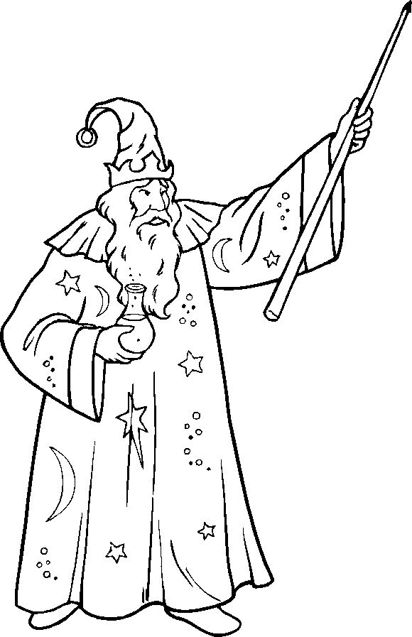 wizard printable coloring pages