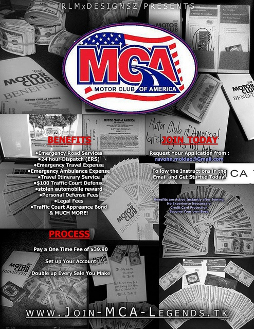 Motor club of america promo flyer join today contact for Mca motor club of america scam