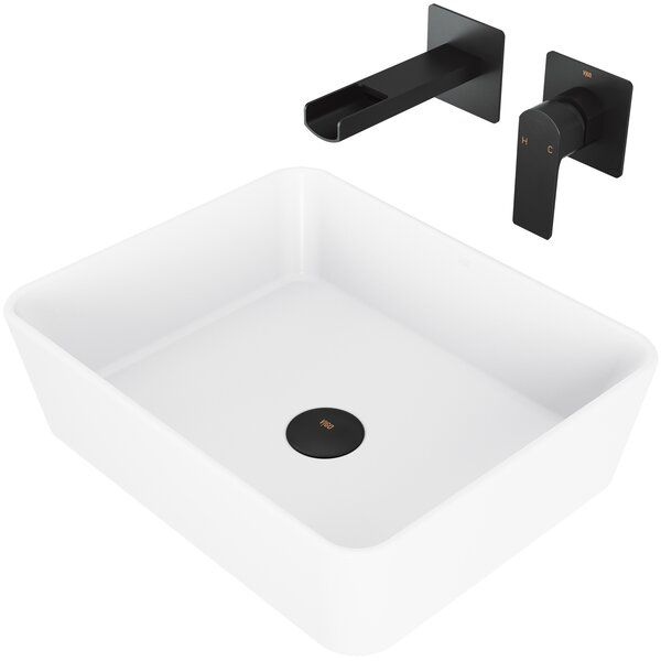 Matte Stone White Rectangular Vessel Bathroom Sink With Faucet Wall Mount Faucet Sink Bathroom Sink