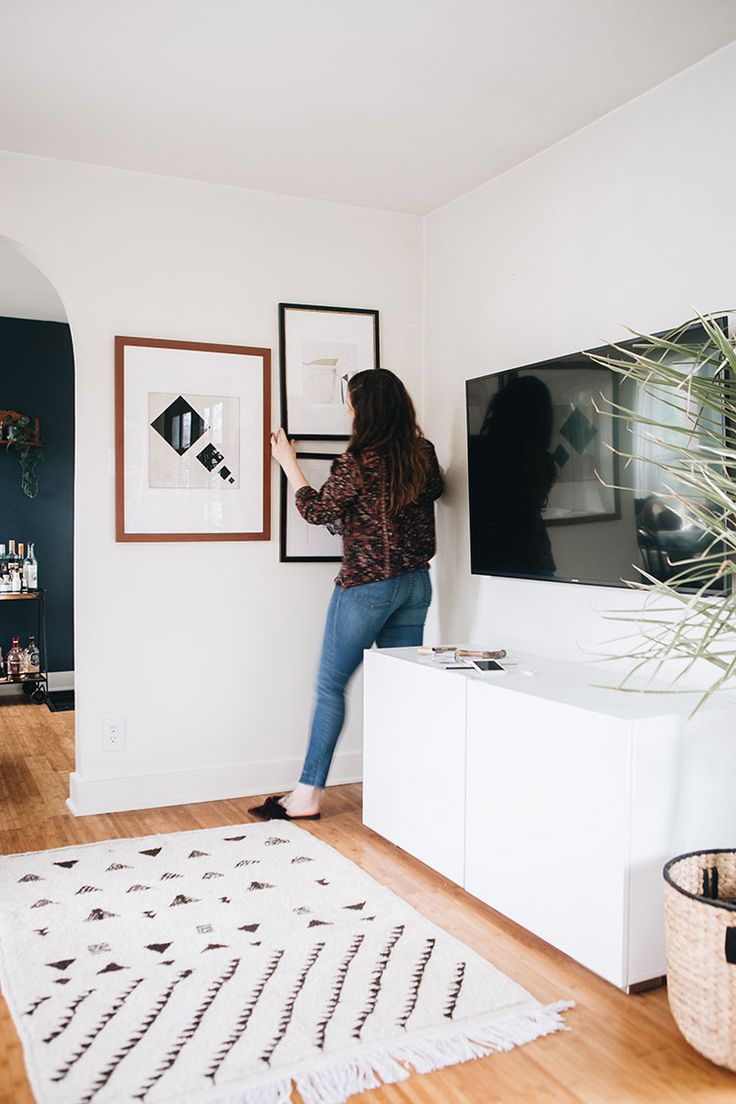 interior design of bungalow houses%0A the easiest way to decorate around a big tv  a gallery wall
