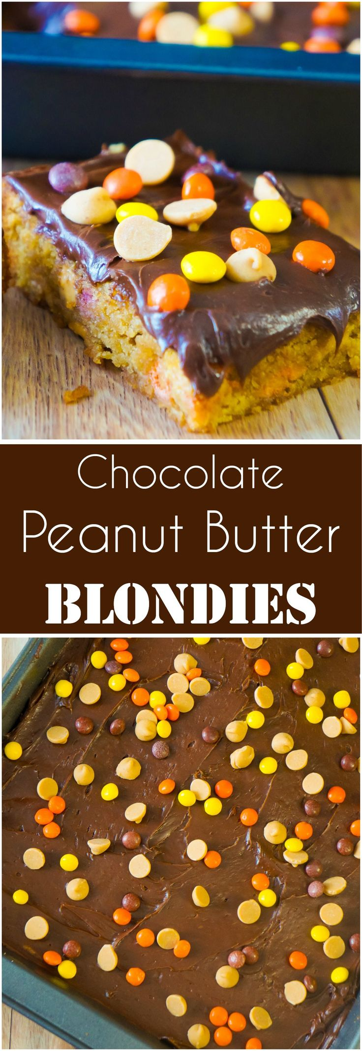 Chocolate Peanut Butter Blondies are a decadent chocolate peanut butter dessert. These peanut butter brownies are loaded with mini Reese's Pieces and peanut butter chipits. Peanut butter bars perfect for any occasion.