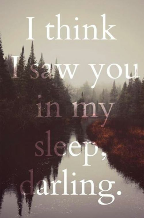 I think I saw you in my sleep, darling.