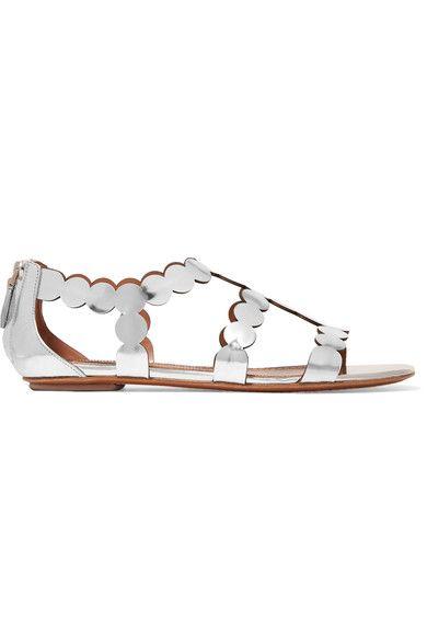 Alaïa - Laser-cut Mirrored Leather Sandals - Silver - IT38.5