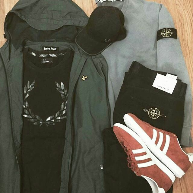 AWAY DAYS - RED/WHITE GAZELLES LOOK COOL WITH THE STONE ISLAND, FRED PERRY AND LYLE&SCOTT GEAR