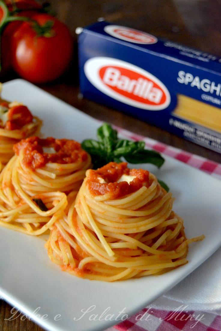 ricetta nidi di spaghetti con mozzarella di bufala| Dolce e Salato di Miky