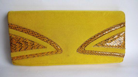 borsa a mano in cotone giallo e pitone DEGLI di Leschosesdemanu