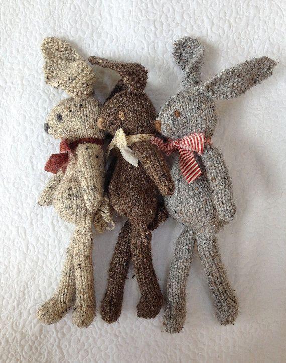 Knit Bunny Rabbit Toy NeWBoRN BaBY PHoTO PRoP Floppy Ear Bunny SHaBBY CHiC SoFT ToY Kid Small Heirloom STuFFeD ANiMaL Beige Brown Grey Tweed