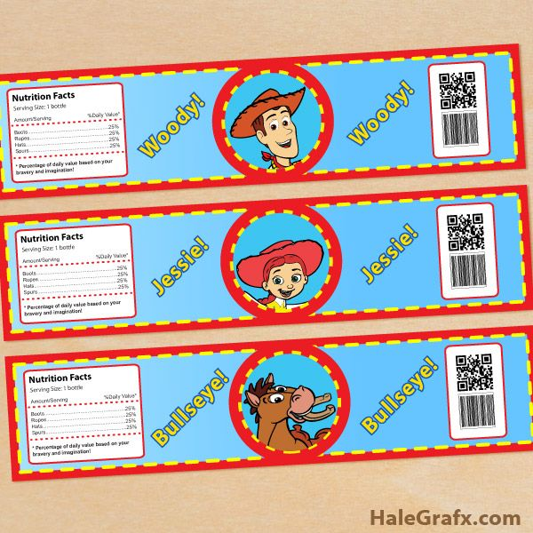 woody jessie bottle labels FREE Printable Toy Story Woody and Jessie Water Bottle Labels
