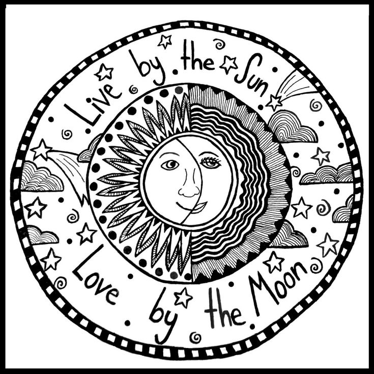 Trippy sun and moon coloring pages colouring pages for Sun moon coloring pages