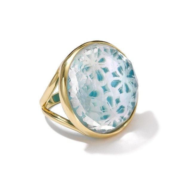 18k gold polished rock candy round lacework ring polished rock candy ippolita