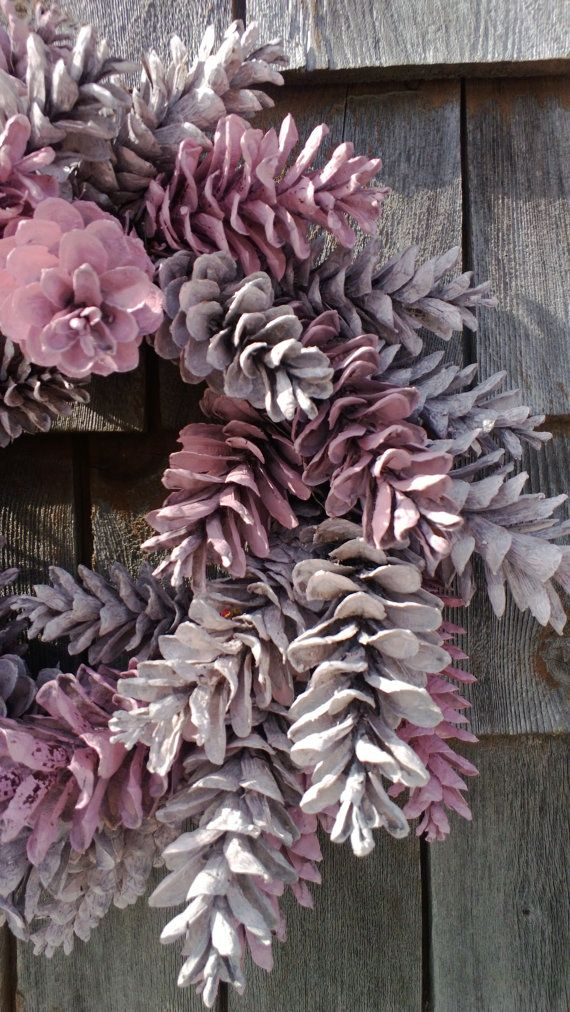 Pinecone Wreath 12'' Pretty In Pink Made to by scarletsmile