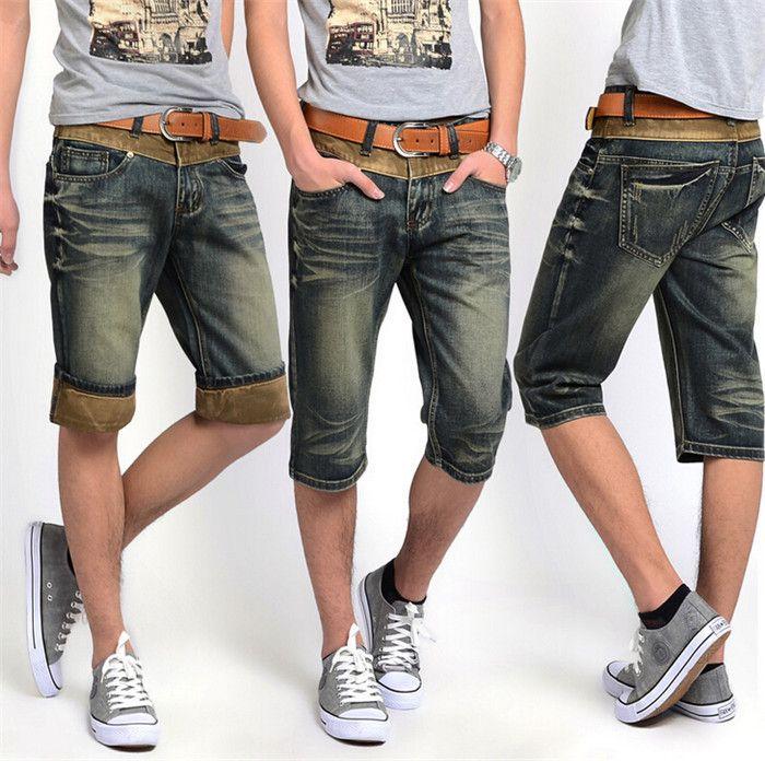 Мужские Лето Стиль 2015 Джинсовые Шорты Плюс Размер 28-38 100% Хлопок мужская Мода Отбортовки робин Джинсы Шорты мужские Шорты Случайные