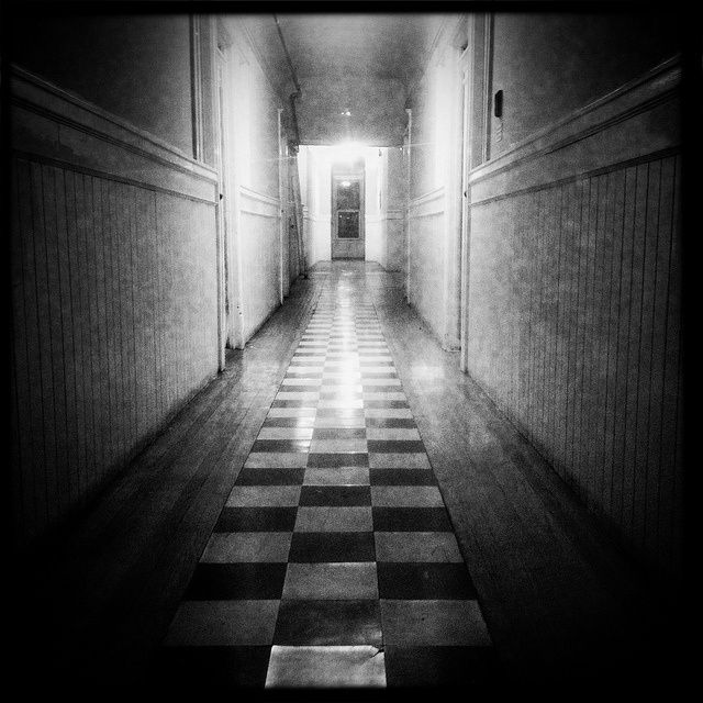 The Door At The End Of The Hallway by Jeremy Brooks, via Flickr (I know in my head that clowns, monsters and crazed axe murderers aren't hiding behind all doors at the end of hallways. But still...)