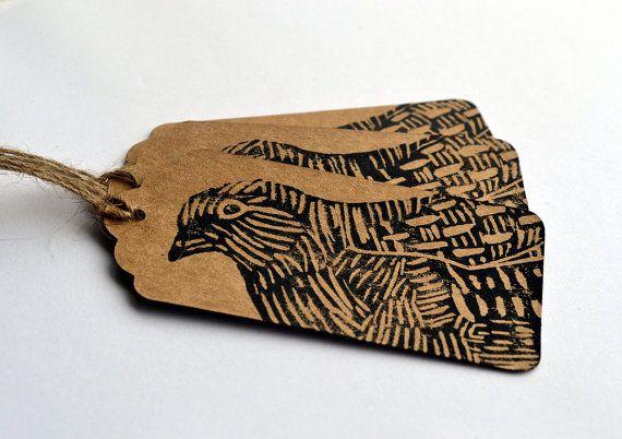 Lino Printed Christmas Partridge Bird Gift Tags