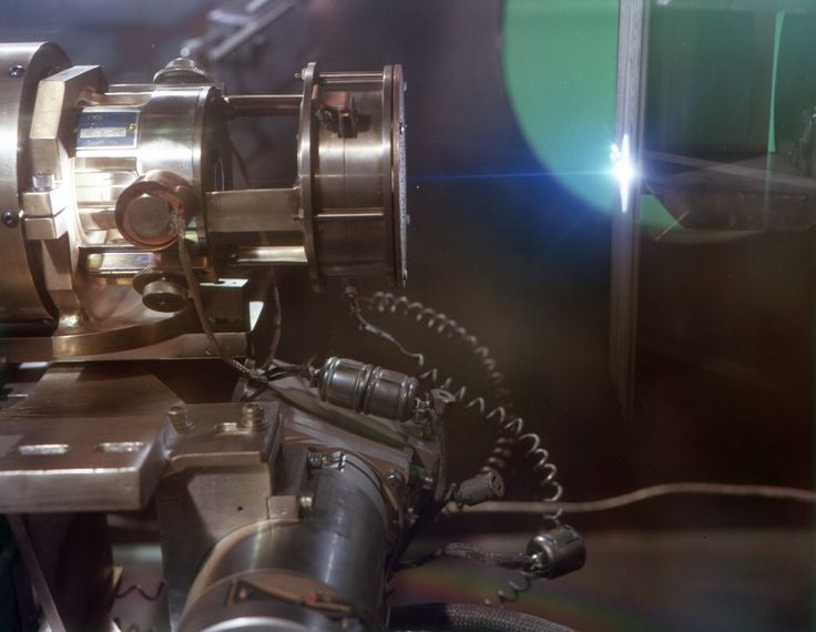 Electron Beam Welding, Type 321 Stainless Steel-------caption: An Electron Beam weld is being made on a 3/16 thick typre 321 stainless steel at Convair division of General Dynamics, using a production welder
