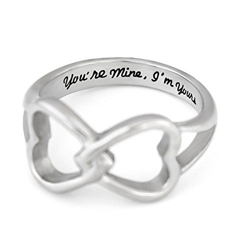 """Double Hearts Infinity Ring, Promise Ring Wedding Band Ring """"You're Mine I'm Yours"""" Engraved on Inside -- Read more  at the image link."""