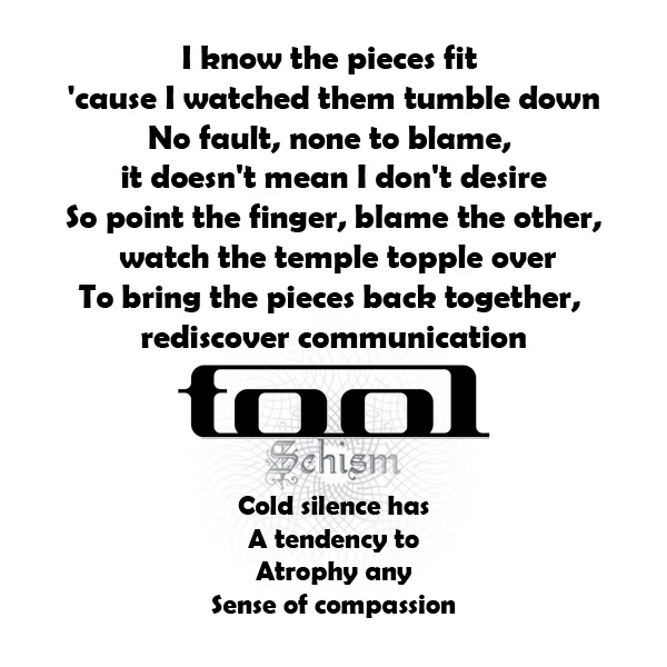 "...""Cold silence has a tendency to atrophy any sense of compassion""...Schism"