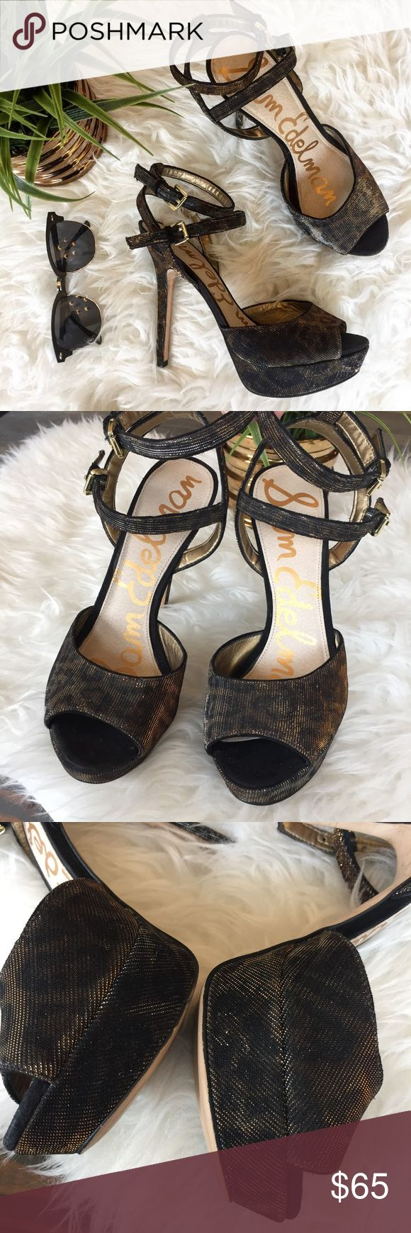 """Sam Edelman Metallic Cheetah Heels Only worn a couple times. Perfect to dress up an outfit. Have a nice sheen to them. Heel is approx 5"""" and a 1"""" platform. I'm usually an 8 but the 8.5 fits perfect. Small flaw on back of heels in last picture isn't noticeable unless you're up close looking Sam Edelman Shoes Heels"""