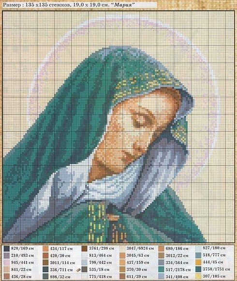 Вышивка ликов святых - Иконы крестьком - Схемы вышивок - Схемы скачать бесплатно - Вышивка
