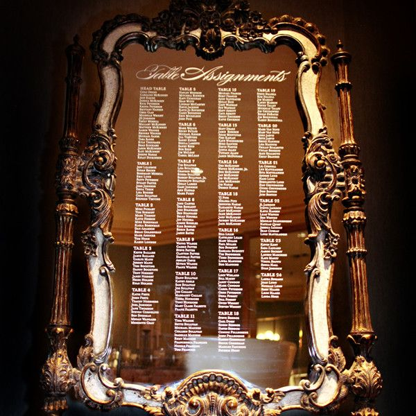 a seating chart etched on an antique mirror vick photography