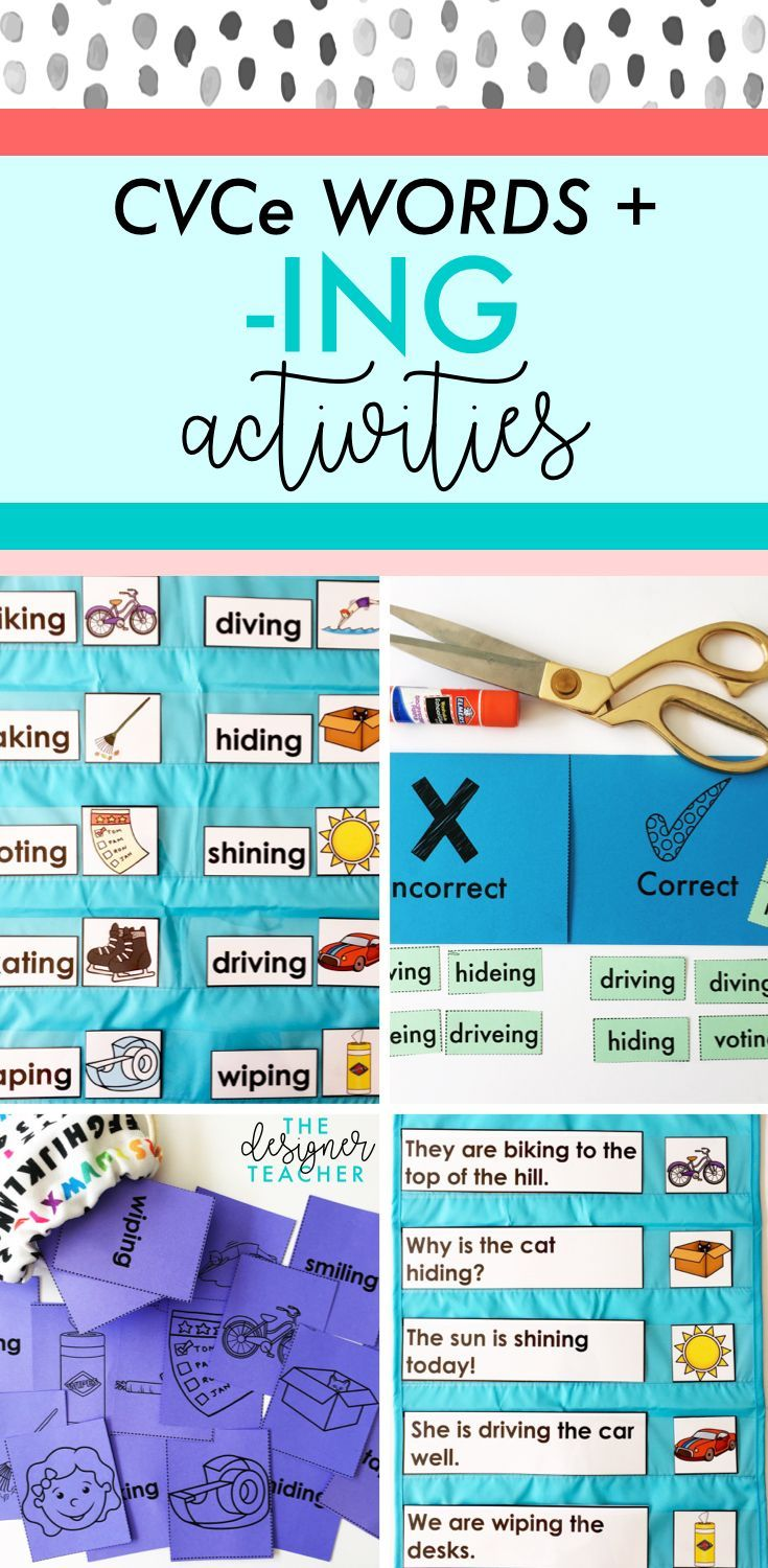 Get everything you need to teach students how to read and spell CVCe words with inflectional ending -ING with this comprehensive mini unit. Includes phonics lesson plans, posters, foldables, games, independent work, and more.