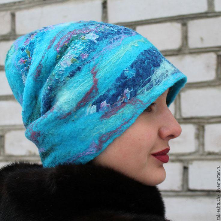 Купить Шапка валяная СИНИЕ ЦВЕТЫ, нуновойлок. шерстяная шапочка - шапка, шапка валяная женская