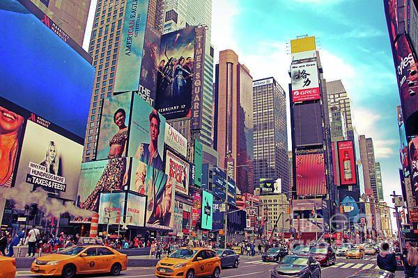 Times Square New York City Daytime Photograph Of Times Square New York City Showing The Billboards Ye New York Wallpaper Times Square New York Nee York City