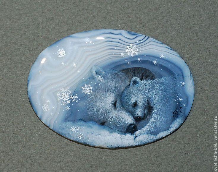 Купить Зимний сон... - лаковая миниатюра, роспись, роспись по камню, живопись маслом