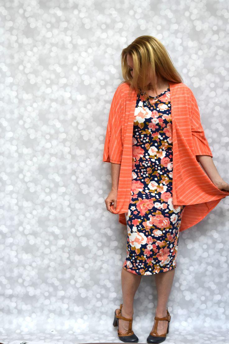 LuLaRoe Julia Dress & LuLaRoe Lindsay Kimono