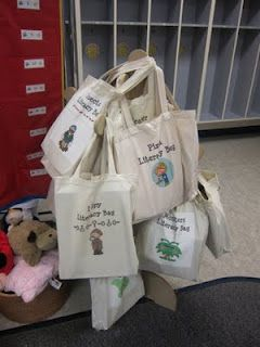 Literacy bags LEAP - talk bags (like Ali's idea at Learning breakfast) / topic bags containing extension ideas/ question bags