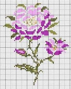 fleur- flower - plant - broderie - embroidery - Fleur-rose - Point de croix - Blog : http://broderiemimie44.canalblog.com/