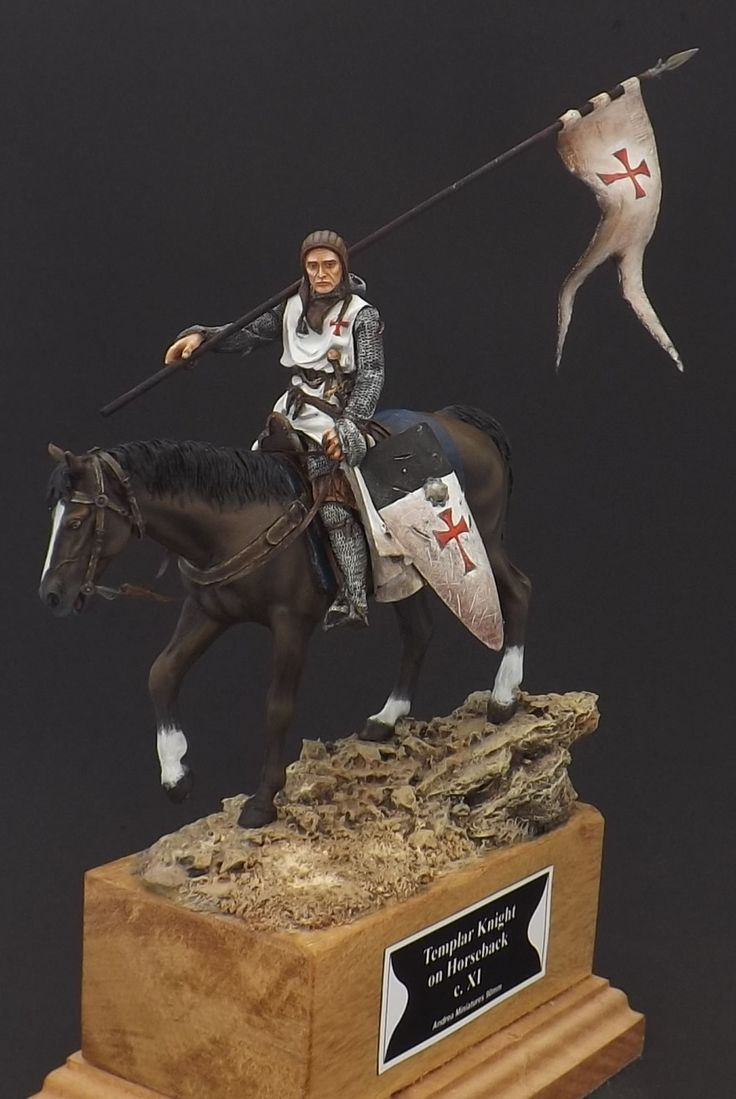 Templar Knight on Horseback - c.XI - Andrea Miniatures 90mm