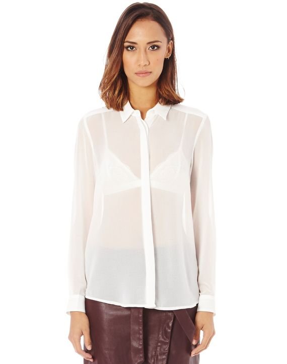 Chiffon Button Front Shirt