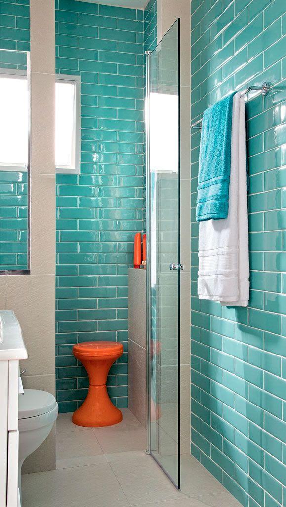 Banheiro elegante vestido com os azulejos da moda por 10 X R$ 309 - Casa