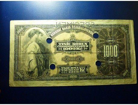 1000 Korun 1932, SPECIMEN, 4x děrováno