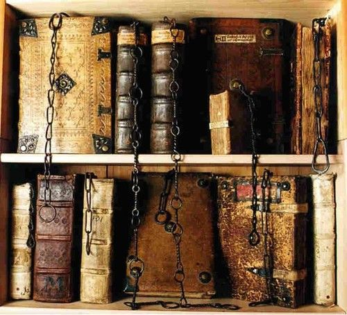 Chained library at Chetham Library in Manchester, England. The oldest public…