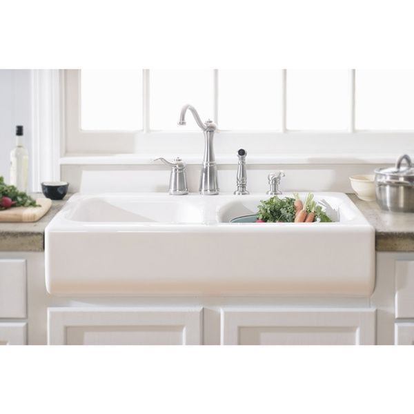 Lyons Deluxe Designer White Apron Front Dual Bowl Acrylic 10 Inch Deep Kitchen  Sink