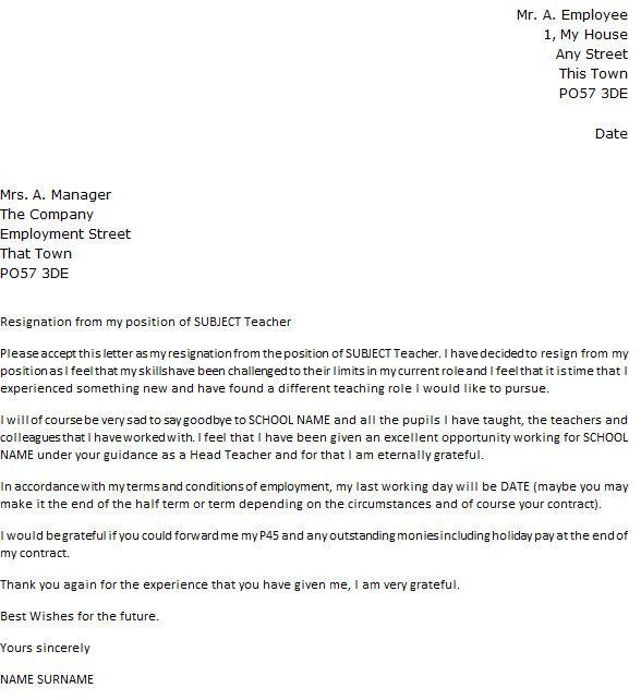 Resignation Letter For A Teacher New Teacher Resignation Letter