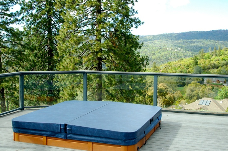 What a view this hot tub cover by The Cover Guy has! www.thecoverguy.com